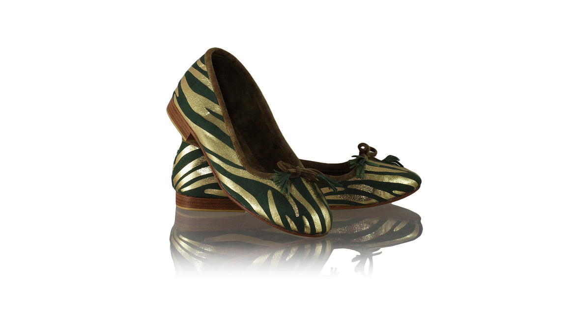 Leather-shoes-Noemi 20mm Ballet - Green & Gold Zebra Print-flats ballet-NILUH DJELANTIK-NILUH DJELANTIK