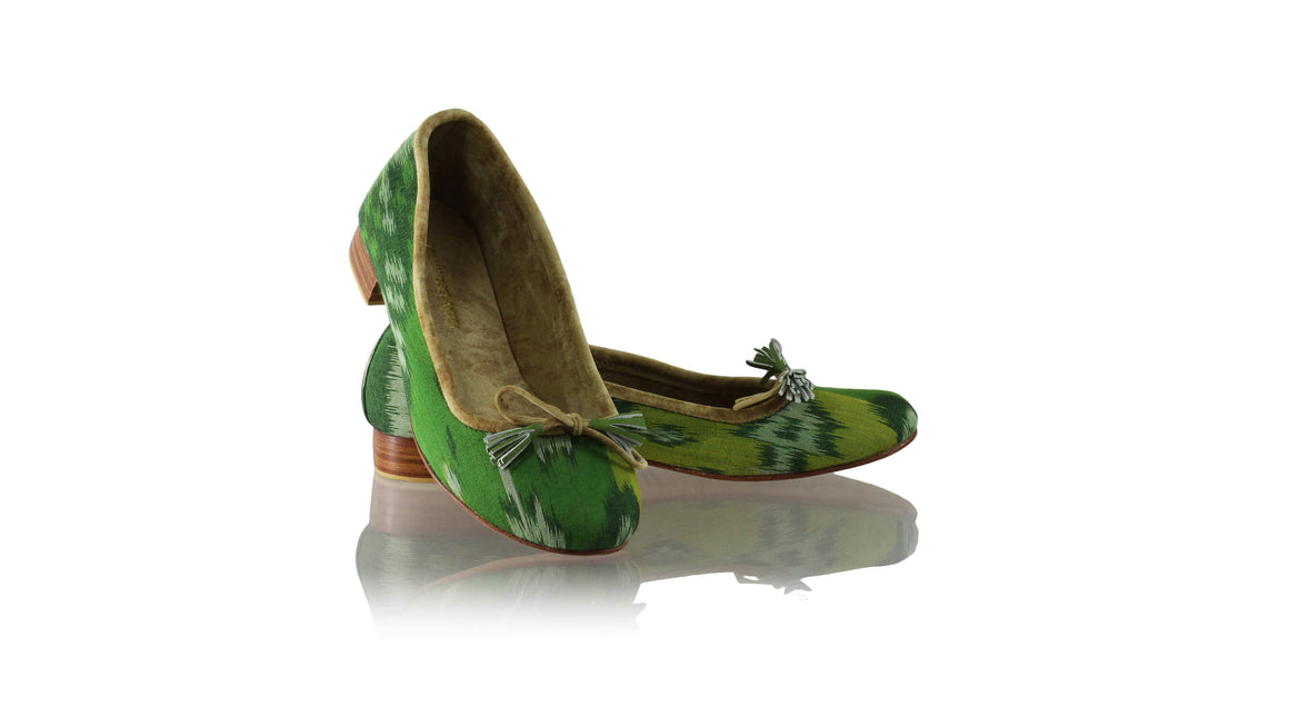 Leather-shoes-Noemi 20mm Ballet - Green & Lime Handwoven Ikat-flats ballet-NILUH DJELANTIK-NILUH DJELANTIK