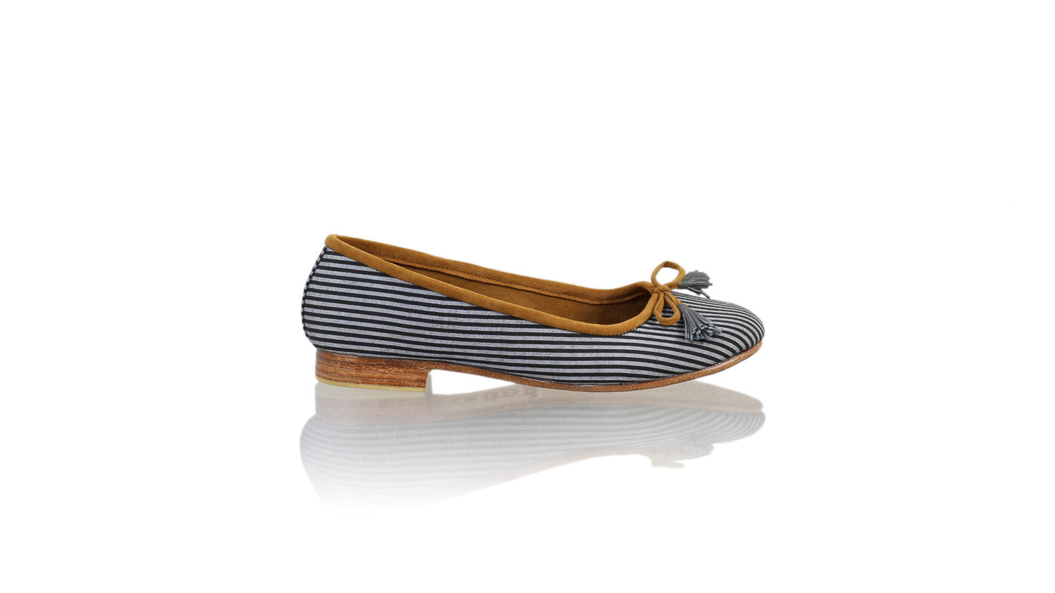 Leather-shoes-Noemi 20mm Ballet - Grey & Black Lines Handwoven Fabric-flats ballet-NILUH DJELANTIK-NILUH DJELANTIK