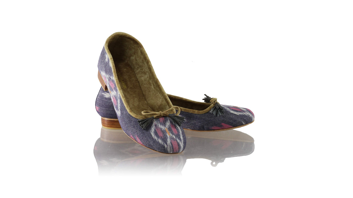 Leather-shoes-Noemi 20mm Ballet - Grey & Pink Handwoven Ikat-flats ballet-NILUH DJELANTIK-NILUH DJELANTIK