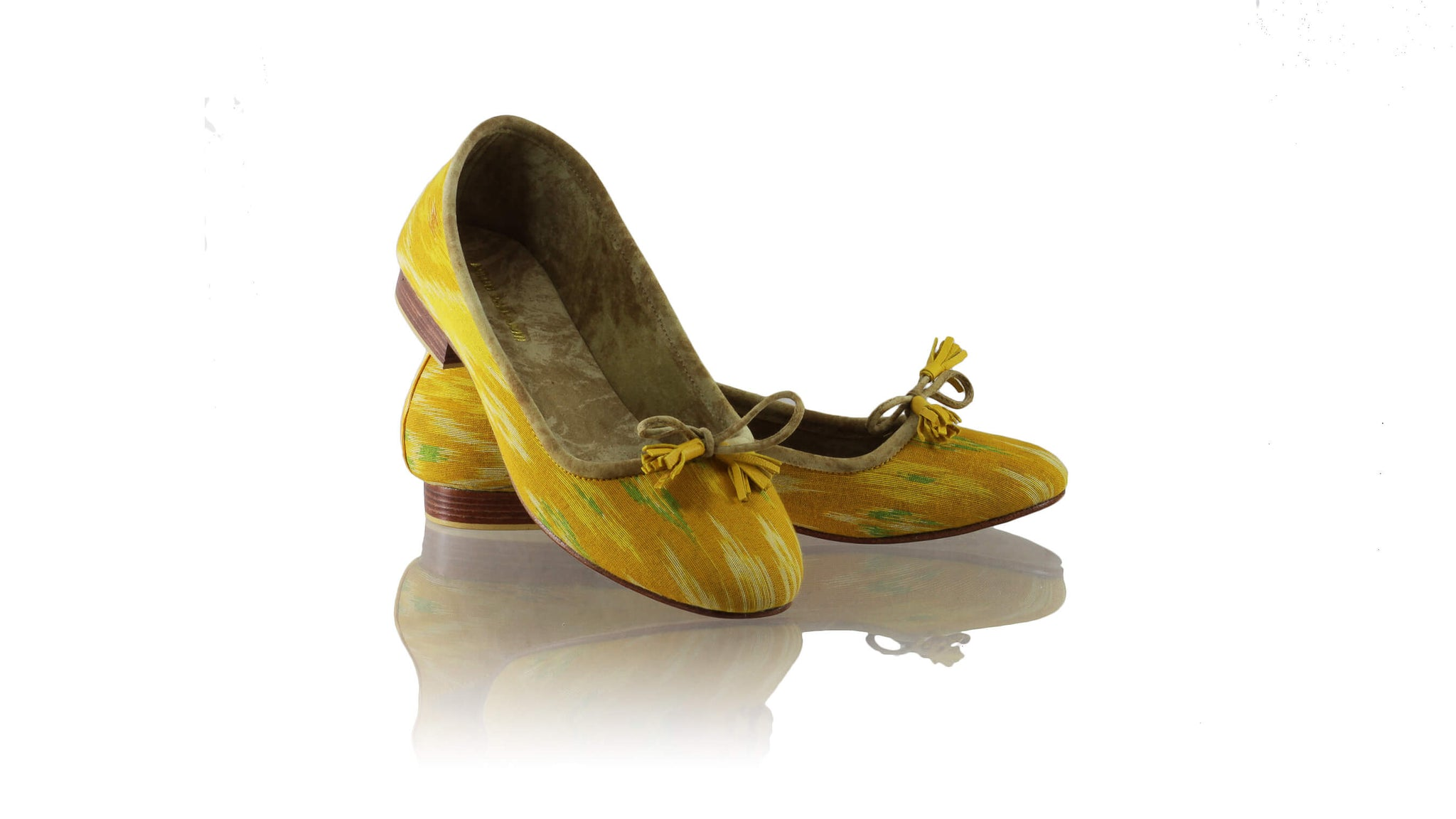 Leather-shoes-Noemi 20mm Ballet - Mustard Yellow & Green Handwoven Ikat-flats ballet-NILUH DJELANTIK-NILUH DJELANTIK