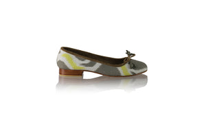 Leather-shoes-Noemi 20mm Ballet - Sumba Grey & Yellow Linen-flats ballet-NILUH DJELANTIK-NILUH DJELANTIK