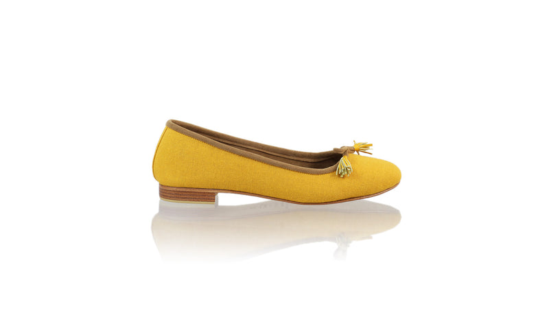 Leather-shoes-Noemi 20mm Ballet - Yellow Linen-flats ballet-NILUH DJELANTIK-NILUH DJELANTIK