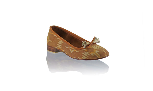 Leather-shoes-Noemi ballet 20mm - Brown Golden Endek-flats ballet-NILUH DJELANTIK-NILUH DJELANTIK