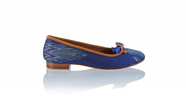 Leather-shoes-Noemi ballet 20mm - Brown Navy Endek-flats ballet-NILUH DJELANTIK-NILUH DJELANTIK
