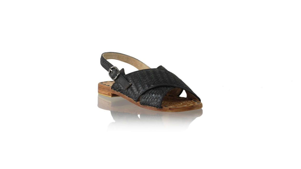 Leather-shoes-Oki 20mm Flats With Strap - Black-sandals flat-NILUH DJELANTIK-NILUH DJELANTIK