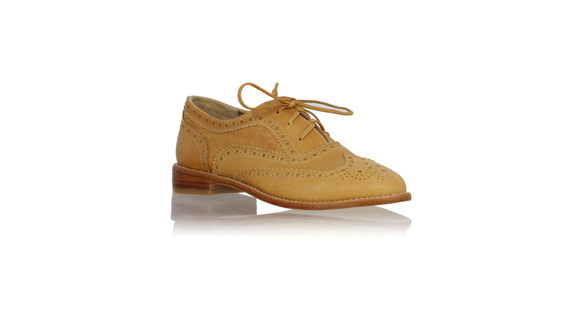 leather shoes Oxford 25 mm Flats - Camel, flats laceup , NILUH DJELANTIK - 1