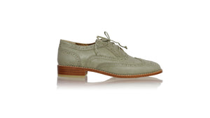 leather shoes Oxford 25 mm Flats - Olive, flats laceup , NILUH DJELANTIK - 1