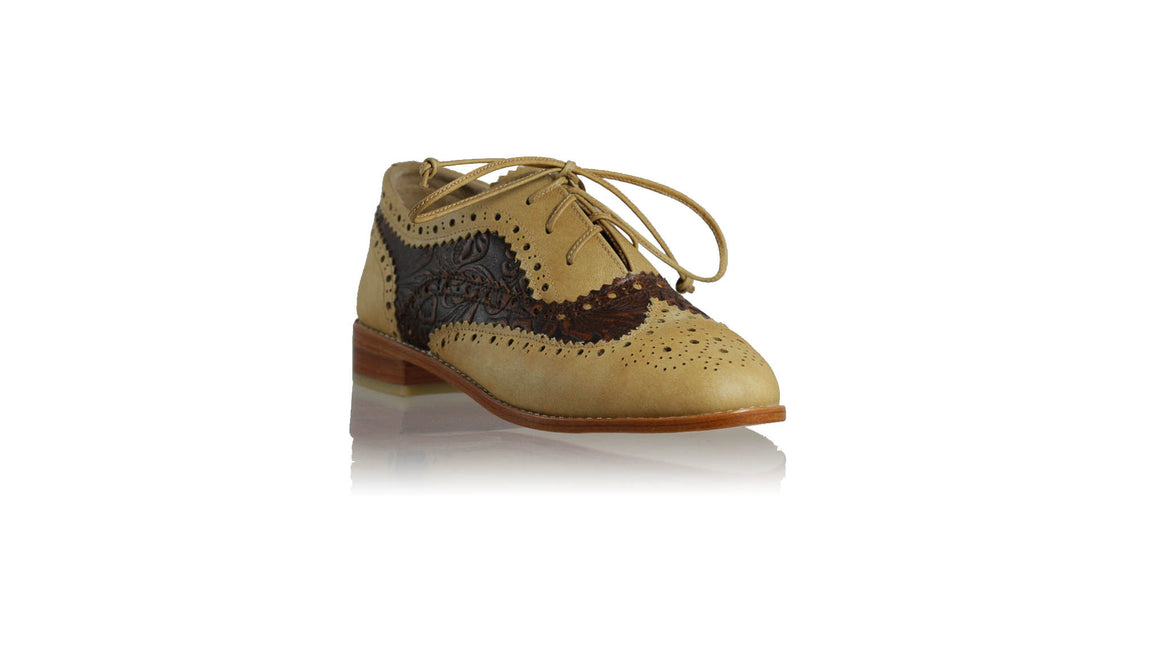 leather shoes Oxford 25 mm Flats - Tan & Dark Brown Batik, flats laceup , NILUH DJELANTIK - 1