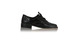 leather shoes Oxford 25mm - Black Leather with snake embossed print, Shoes , NILUH DJELANTIK - 1