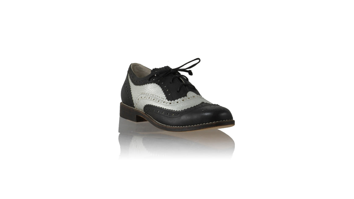 Leather-shoes-Oxford 25mm Flats - Black & Silver-flats laceup-NILUH DJELANTIK-NILUH DJELANTIK