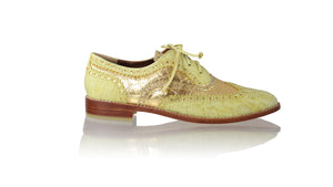 Leather-shoes-Oxford 25mm Flats - Yellow Croco & Gold Croco Print-flats laceup-NILUH DJELANTIK-NILUH DJELANTIK
