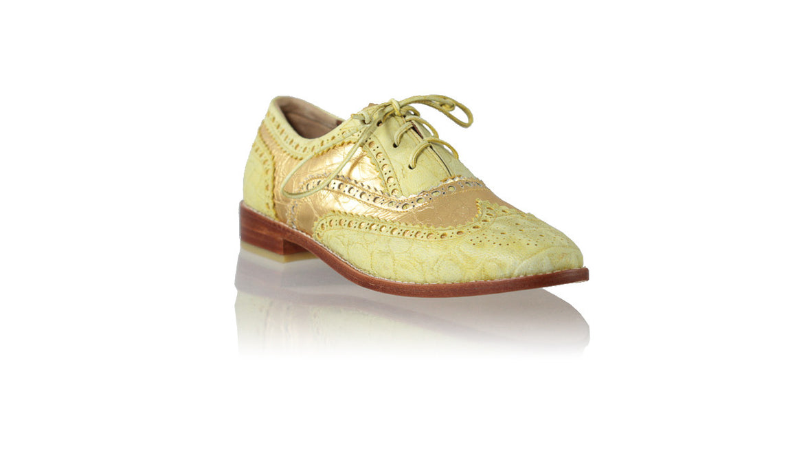leather shoes Oxford 25mm Flats - Yellow Croco & Gold Croco Print, flats laceup , NILUH DJELANTIK - 1