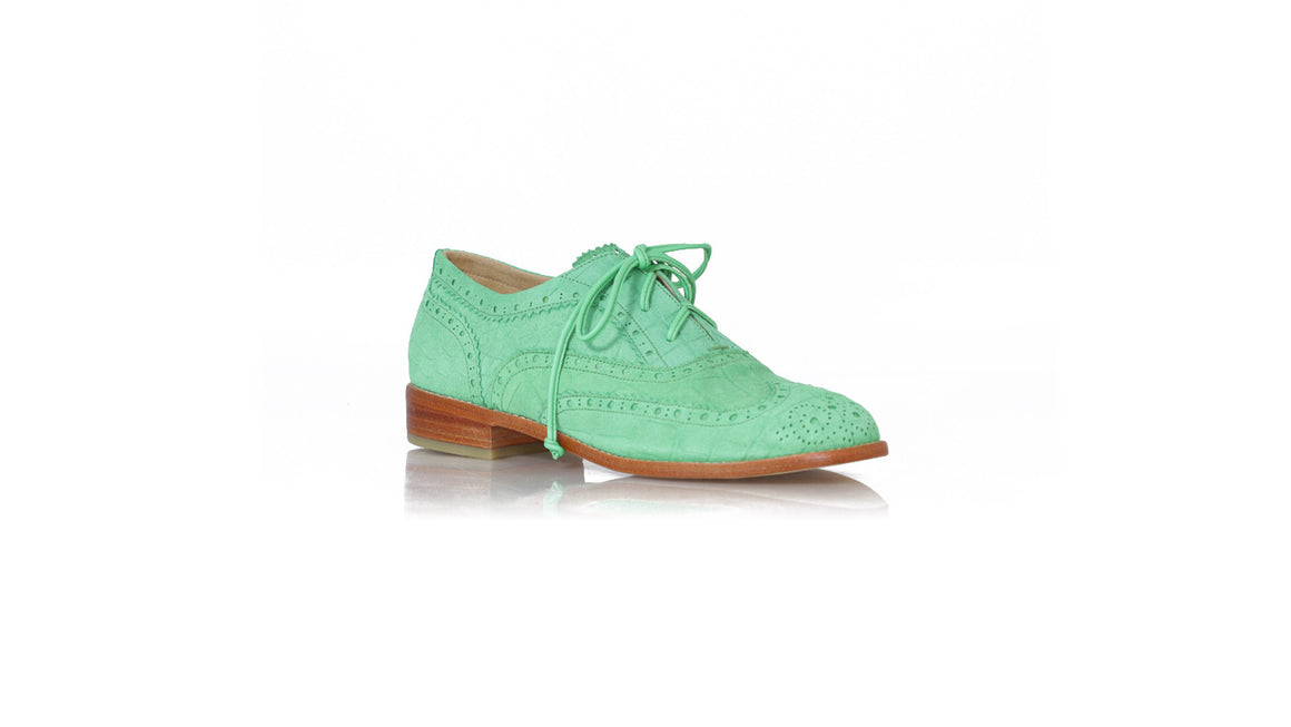 Leather-shoes-Oxford 25mm Flats - Embossed Green Croco-Shoes-NILUH DJELANTIK-NILUH DJELANTIK