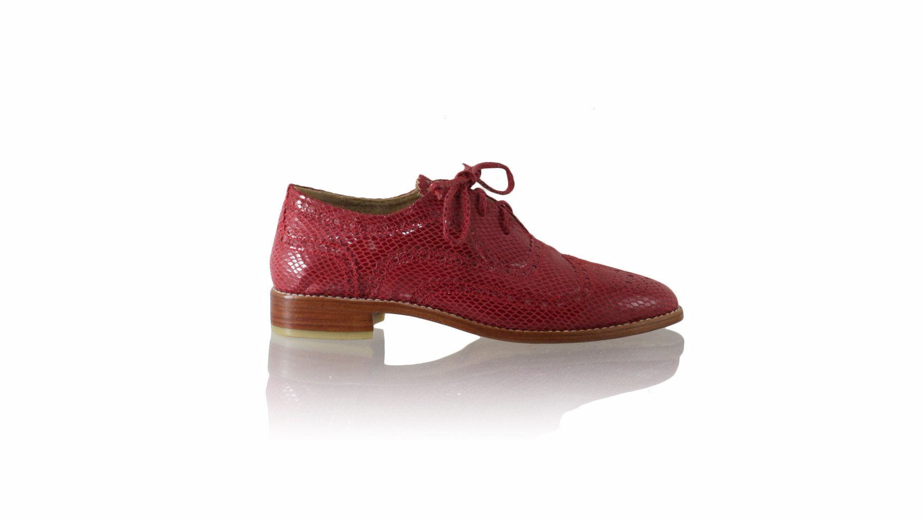Leather-shoes-Oxford 25mm Flat - Red Snake Print-flats laceup-NILUH DJELANTIK-NILUH DJELANTIK