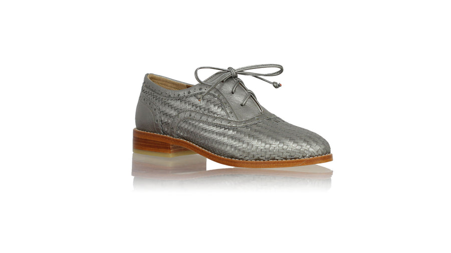 Leather-shoes-Oxford Woven 25mm Flat - Grey Metallic-flats laceup-NILUH DJELANTIK-NILUH DJELANTIK
