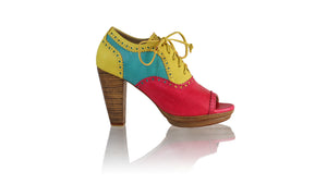 Leather-shoes-Oxford Peeptoe WH PF 110mm - Fuschia Yellow & Dark Aqua-pumps highheel-NILUH DJELANTIK-NILUH DJELANTIK