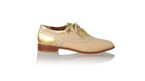 Leather-shoes-Oxford Woven Enrique 25mm Flats - Baby Pink & Gold Croco Print-flats laceup-NILUH DJELANTIK-NILUH DJELANTIK