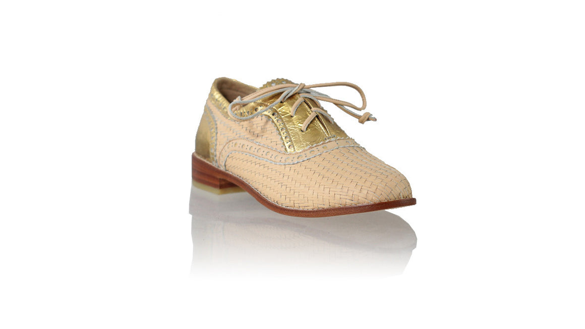 leather shoes Oxford Woven Enrique 25mm Flats - Baby Pink & Gold Croco Print, flats laceup , NILUH DJELANTIK - 1