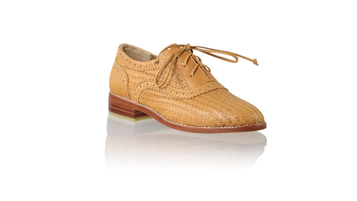 leather shoes Oxford Woven Enrique 25mm Flats - Camel Vintage, flats laceup , NILUH DJELANTIK - 1