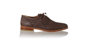 leather shoes Oxford Woven Enrique 25mm Flats - Dark Brown, flats laceup , NILUH DJELANTIK - 1
