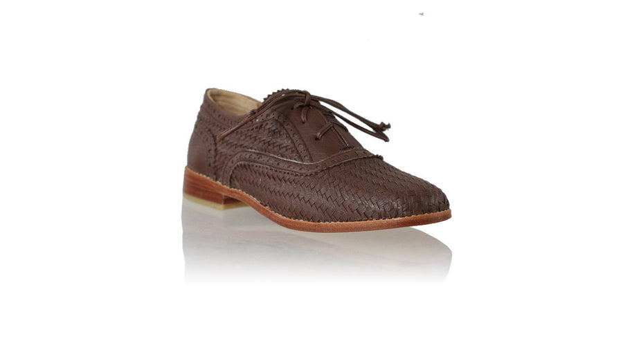 Leather-shoes-Oxford Woven 25mm Flat - Dark Brown-flats laceup-NILUH DJELANTIK-NILUH DJELANTIK