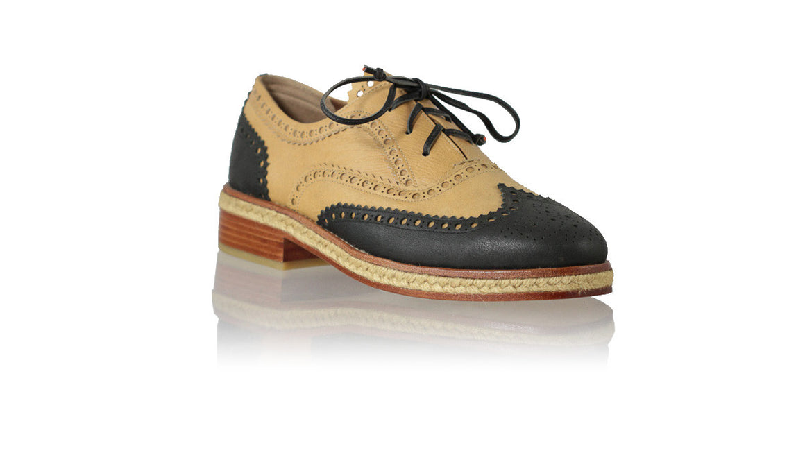 leather shoes Oxford with jute 25mm Flats - Black & Nude, flats laceup , NILUH DJELANTIK - 1
