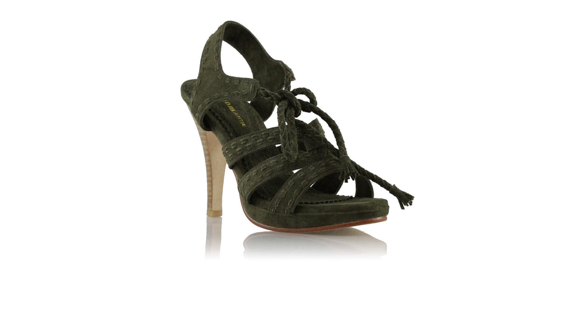 leather shoes Palmi PF 115mm - Olive Suede, sandals higheel , NILUH DJELANTIK - 1
