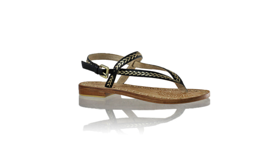 Leather-shoes-Papua 20mm Flat - Black & Gold-sandals flat-NILUH DJELANTIK-NILUH DJELANTIK