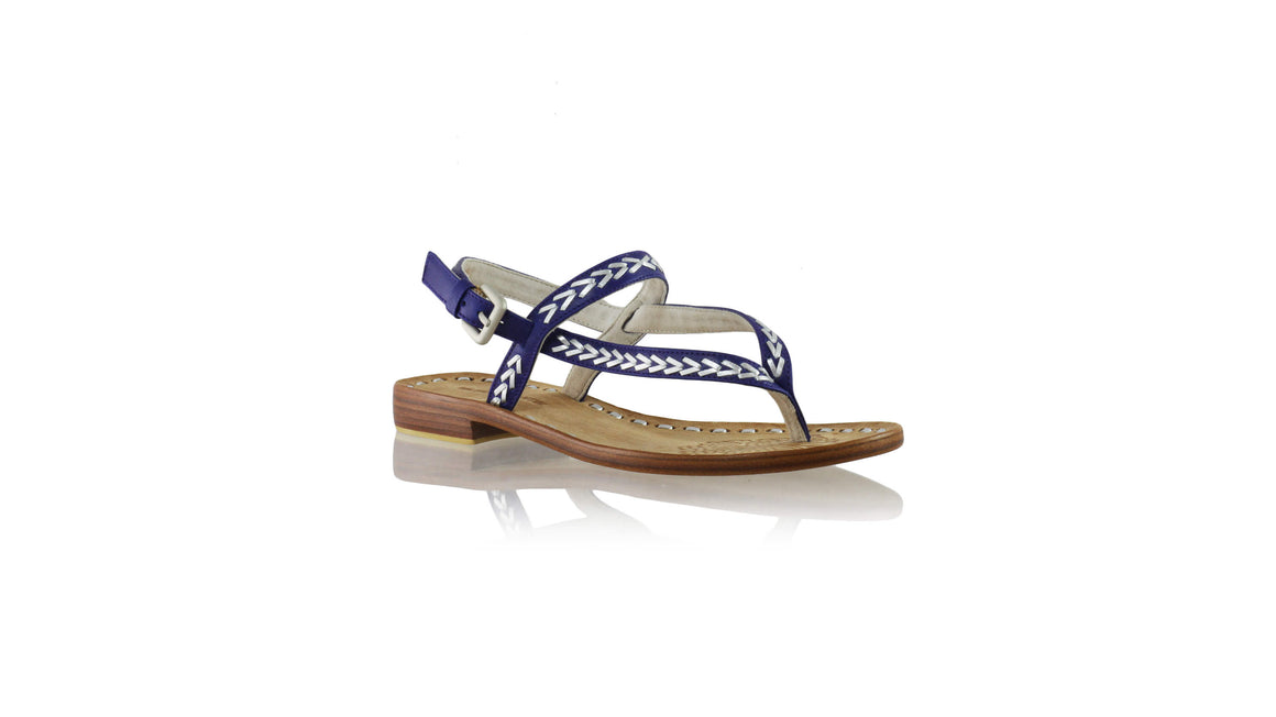 Leather-shoes-Papua 20mm Flat - Blue & Silver-sandals flat-NILUH DJELANTIK-NILUH DJELANTIK