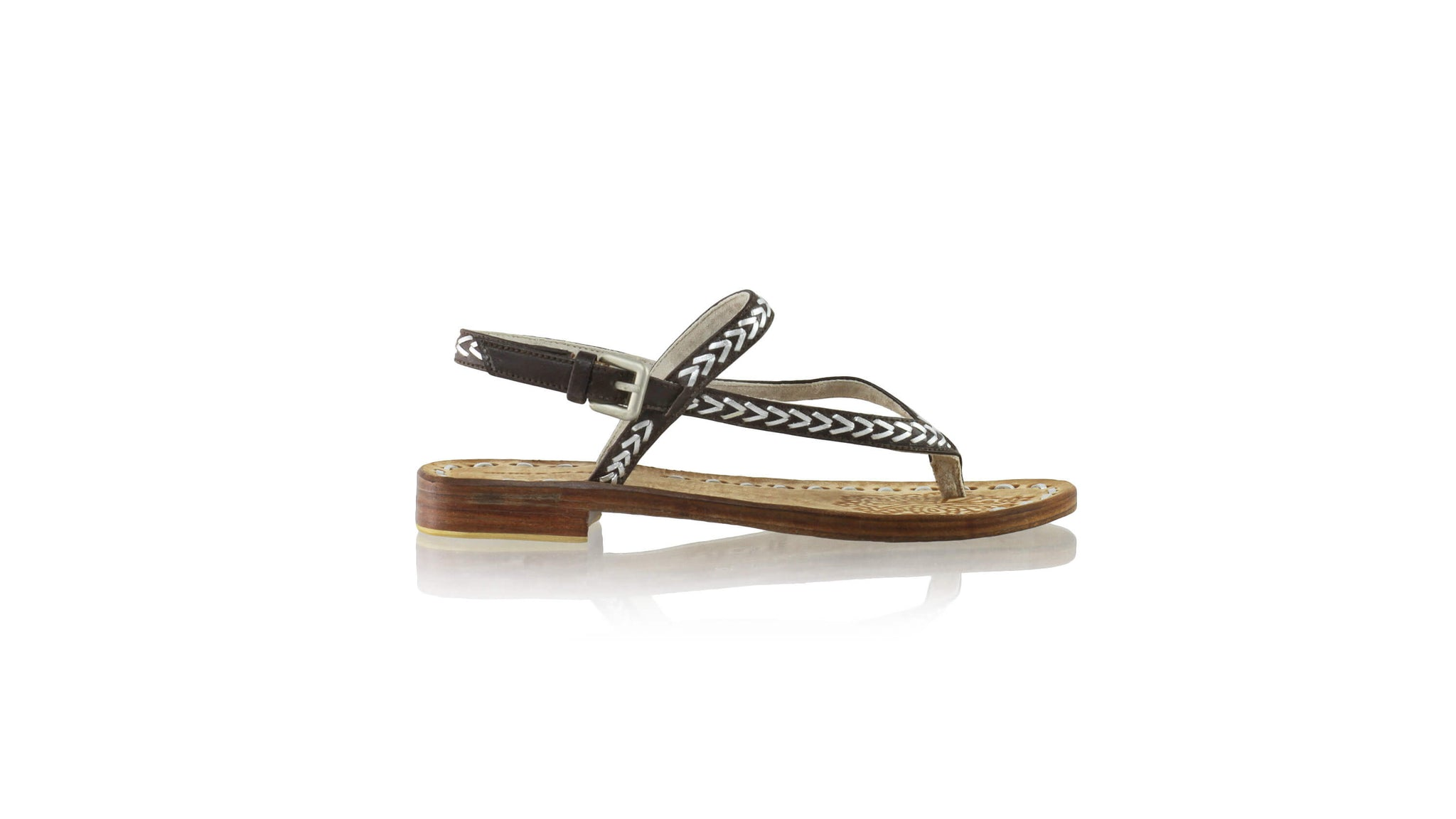 Leather-shoes-Papua 20mm Flat - Dark Brown & Silver-sandals flat-NILUH DJELANTIK-NILUH DJELANTIK