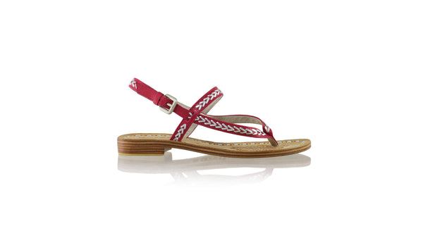 Leather-shoes-Papua 20mm Flat - Fuschia & Silver-sandals flat-NILUH DJELANTIK-NILUH DJELANTIK