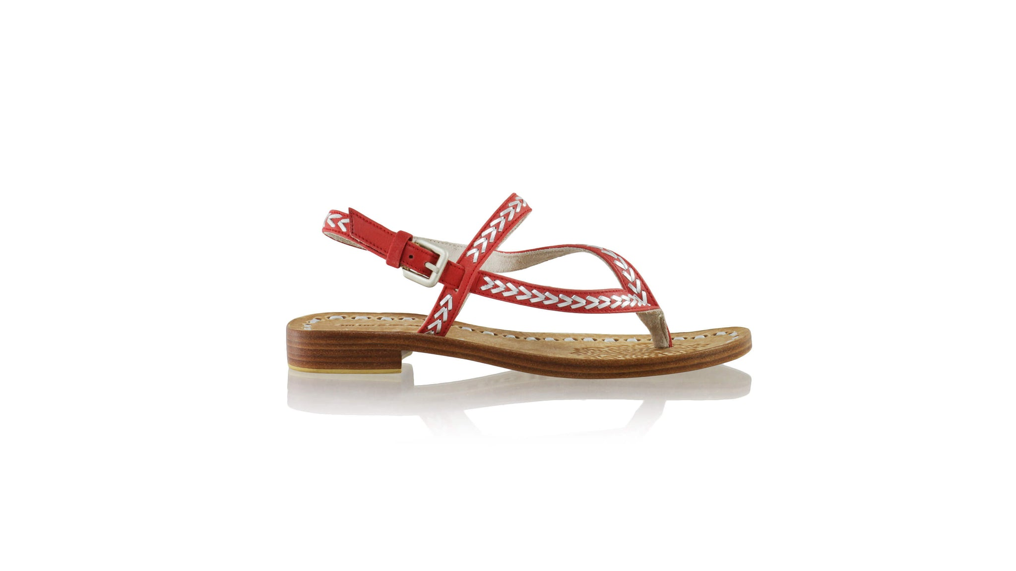Leather-shoes-Papua 20mm Flat - Red & Silver-sandals flat-NILUH DJELANTIK-NILUH DJELANTIK