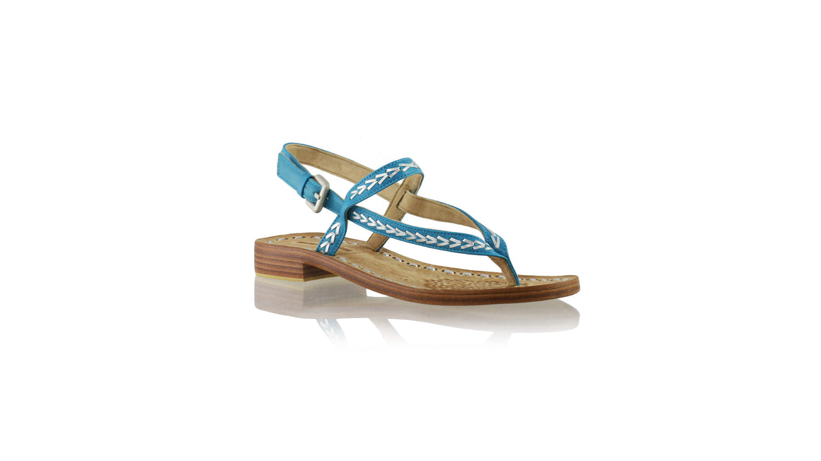 Leather-shoes-Papua 20mm Flat - Turquoise & Silver-sandals flat-NILUH DJELANTIK-NILUH DJELANTIK