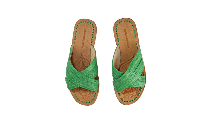 Leather-shoes-Paramita 20mm Flat - Green-sandals flat-NILUH DJELANTIK-NILUH DJELANTIK