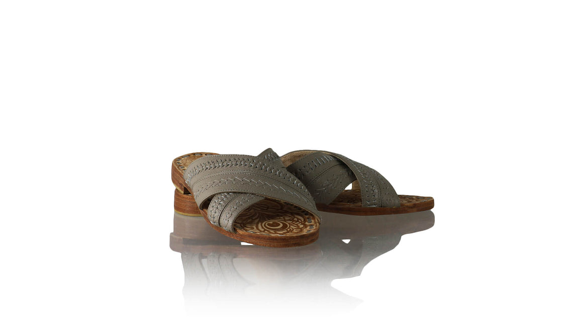 Leather-shoes-Paramita 20mm Flat - Grey BKK-sandals flat-NILUH DJELANTIK-NILUH DJELANTIK