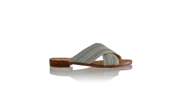 Leather-shoes-Paramita 20mm Flat - Grey Vintage-sandals flat-NILUH DJELANTIK-NILUH DJELANTIK
