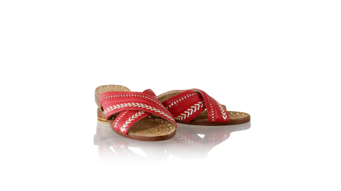 Leather-shoes-Paramita 20mm Flat - Red & Gold-sandals flat-NILUH DJELANTIK-NILUH DJELANTIK