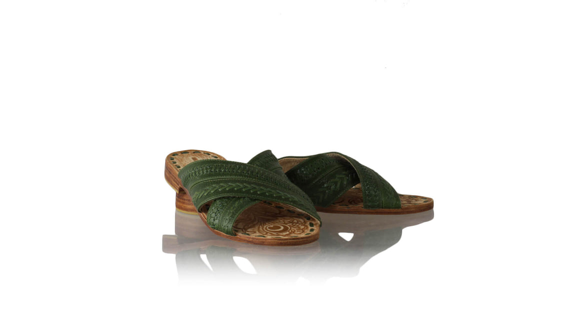 Leather-shoes-Paramita 20mm Flat - Very Dark Green-sandals flat-NILUH DJELANTIK-NILUH DJELANTIK