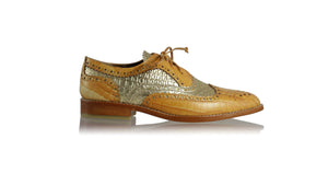leather shoes Pedro 25 mm Flats - Camel croco & Gold croco, flats laceup , NILUH DJELANTIK - 1