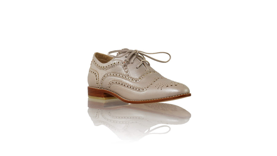 Leather-shoes-Pedro 25mm Flat - Cream Metallic-flats laceup-NILUH DJELANTIK-NILUH DJELANTIK