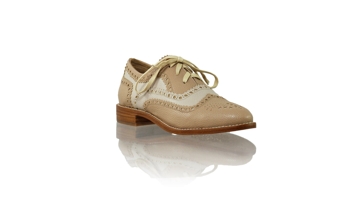 Leather-shoes-Pedro 25mm - Cream & Tan Faux Leather-flats laceup-NILUH DJELANTIK-NILUH DJELANTIK