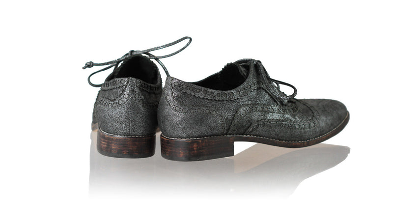 Leather-shoes-Pedro 25mm Flat - Grey Cracking-flats laceup-NILUH DJELANTIK-NILUH DJELANTIK
