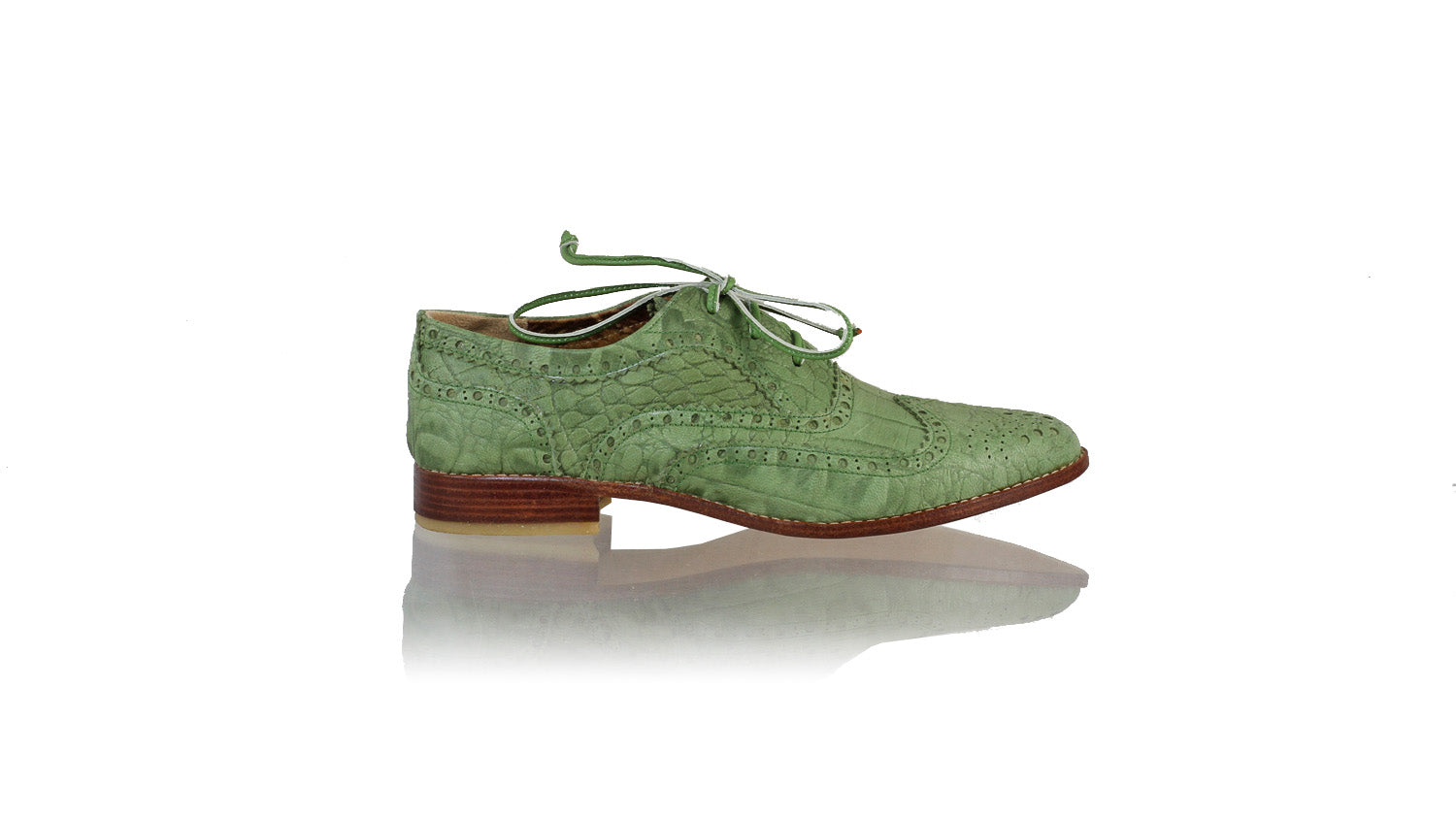 Leather-shoes-Pedro 25mm Flat - Green Croco Print-flats laceup-NILUH DJELANTIK-NILUH DJELANTIK