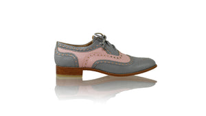 Leather-shoes-Pedro 25mm - Grey & Soft Pink Faux Leather-flats laceup-NILUH DJELANTIK-NILUH DJELANTIK