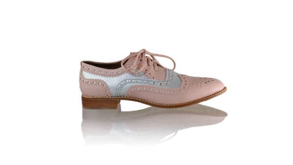 Leather-shoes-Pedro 25mm Flat - Pink & Silver Faux Leather-flats laceup-NILUH DJELANTIK-NILUH DJELANTIK