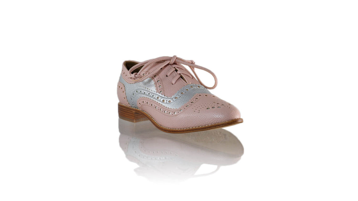 Leather-shoes-Pedro 25mm - Pink & Silver Faux Leather-flats laceup-NILUH DJELANTIK-NILUH DJELANTIK