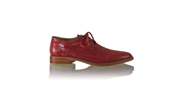 Leather-shoes-Pedro 25mm Flat - Red Snake Print-flats laceup-NILUH DJELANTIK-NILUH DJELANTIK