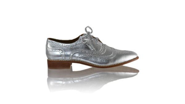 Leather-shoes-Pedro 25mm Flat - Silver-flats laceup-NILUH DJELANTIK-NILUH DJELANTIK