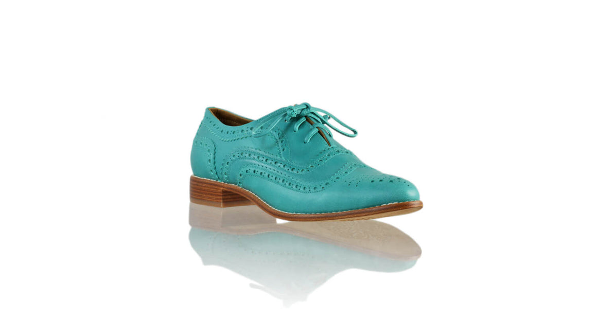 Leather-shoes-Pedro 25mm Flat - Aqua-flats laceup-NILUH DJELANTIK-NILUH DJELANTIK